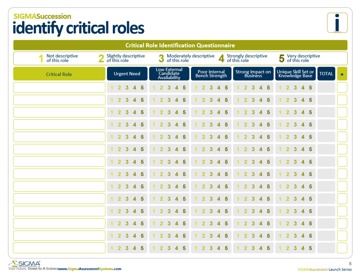 Critical Role Identification Questionnaire by Sigma Assessment Systems