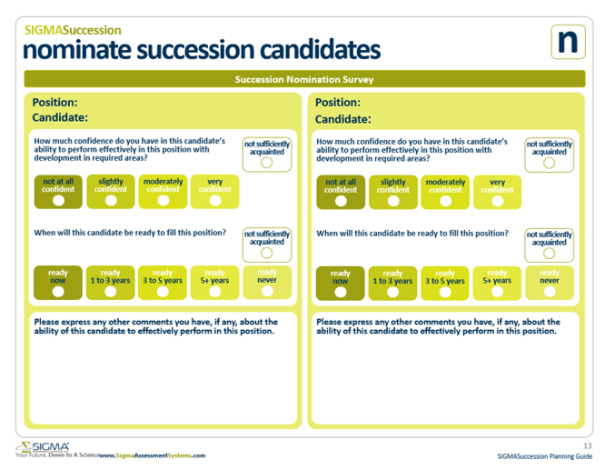 Identifying succession candidates with the nominate succession candidates survey