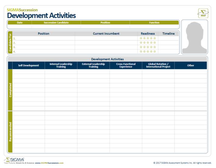 Talent Development Activities Worksheet for Succession Planning