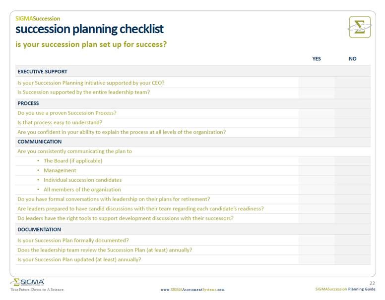 succession planning template checklist