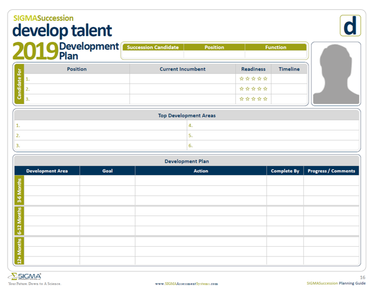 Sigma Assessment Systems Talent Development Plan Template for succession planning