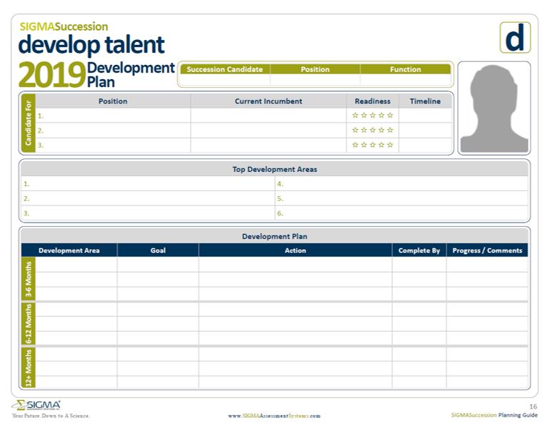 Talent development plan for succession planning