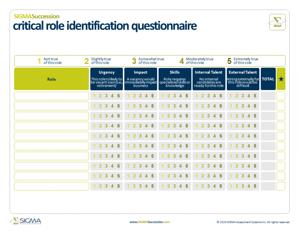 critical roles identification questionnaire