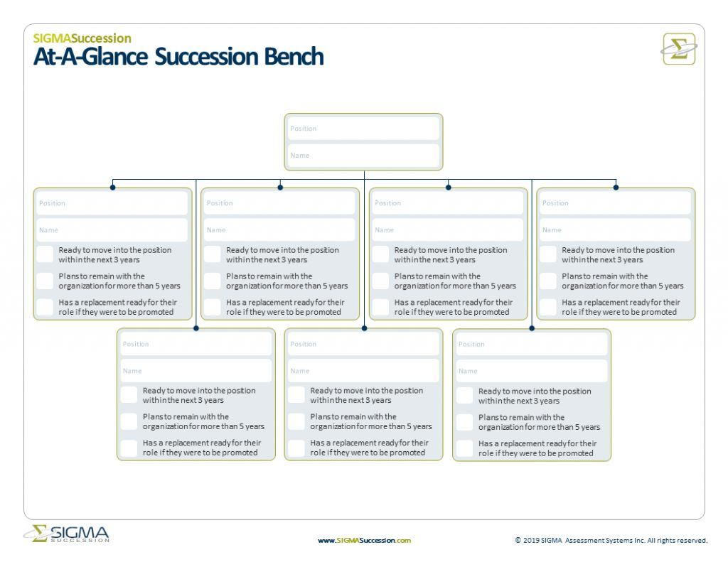 At Glance Succession Bench Template to Assist Succession Planning Developed by SIGMA Assessement Systems